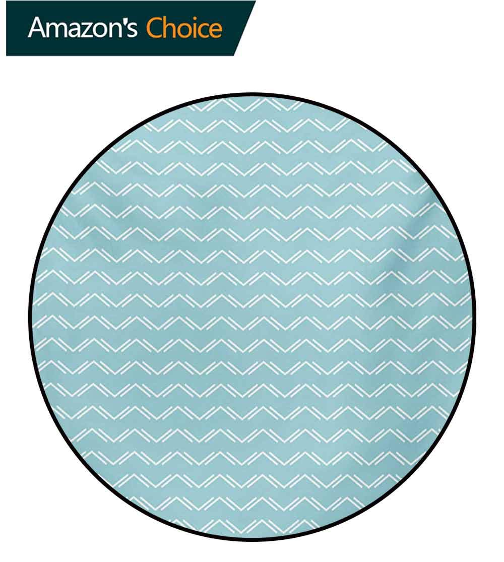 RUGSMAT Chevron Non-Slip Area Rug Pad Round,Up and Down Zigzags in Horizontal Direction Minimalist Trend Stylized Design Protect Floors While Securing Rug Making Vacuuming,Round-31 Inch by RUGSMAT (Image #2)