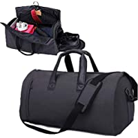 AORAEM Garment Bag with Shoulder Strap, Carry On Duffel Suitcase Suit Travel Business Bags for Men with Shoe Pouch - Black