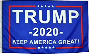 Eugenys Donald Trump 2020 Keep America Great Flag (3x5 Feet) - Free 10 Car Truck Bumper Stickers Included - Bright Colors and UV Resistant Polyester - Trump Flag with Durable Brass Grommets