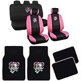 Lady Skull Black & Pink Car Seat Covers & Floor Mats - Full Interior Set - Universal Fit