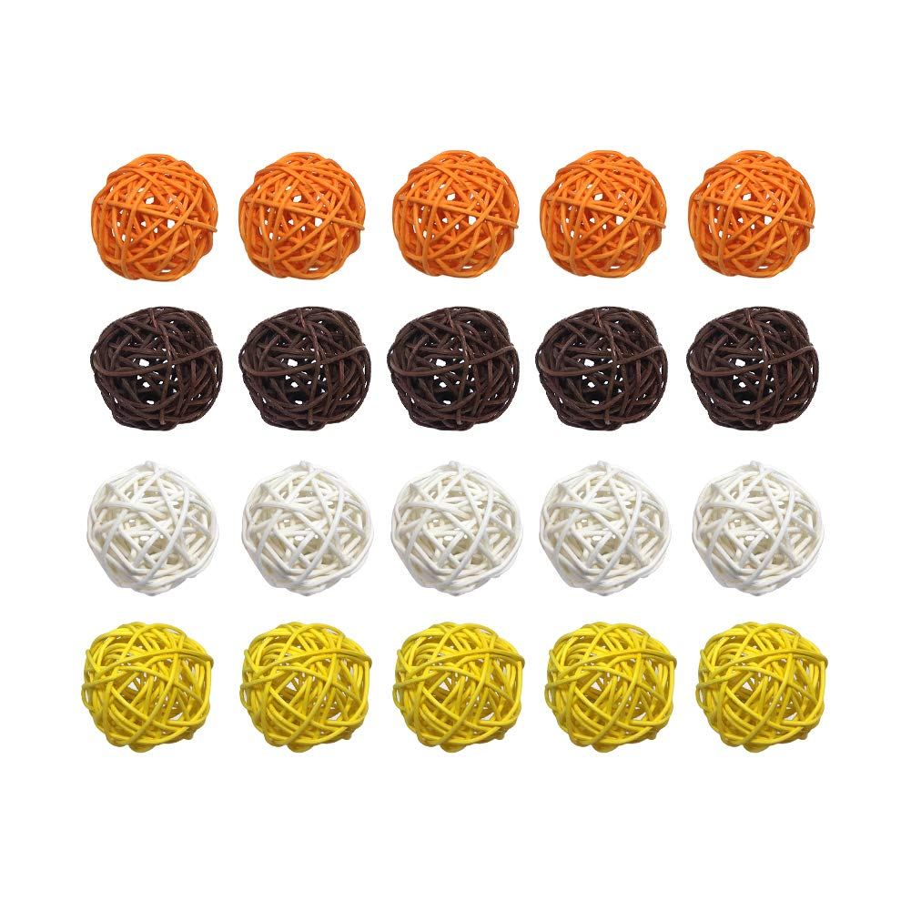 527BL 20PCS Mixed Brown Orange Yellow White Wicker Rattan Ball Autumn Fall Wedding Birthday Christmas Christening Baby Shower Party Hanging Decoration