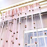 String Curtain Panel, Glitter Flower Door Wall Window Doorways Fly Screen Fringe Room Divider Blinds, Decorative Tassel Ribbon Strip Silver Screen for Living room, Bedroom, Party Events (Pink)