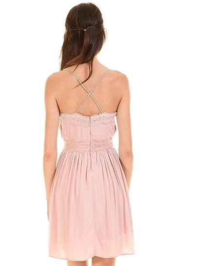 Vila Vestido romantico Rosa Encaje Clothes (L - Rosa): Amazon.es: Ropa y accesorios