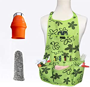 SXBBSMC Garden Apron with Silicone Thumb Knife Set, Waterproof Apron with Lots of Pockets, Gardening Tool Apron for Women, Men, Gardener