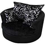 Large Swivel Round Cuddle Chair Fabric (Grey): Amazon.co ...