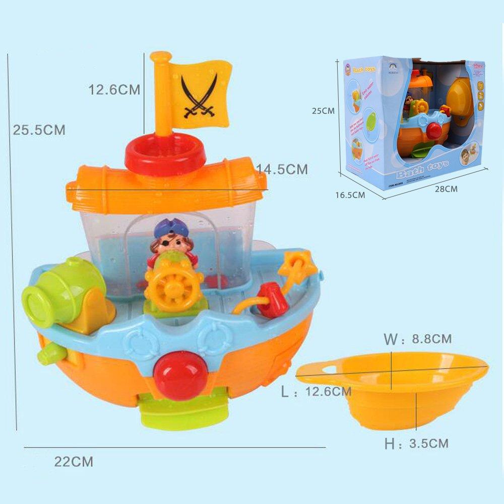 Pirate Ship Bathtub Bath Toy - ZM15021 Bathtime Play Set for kids ...