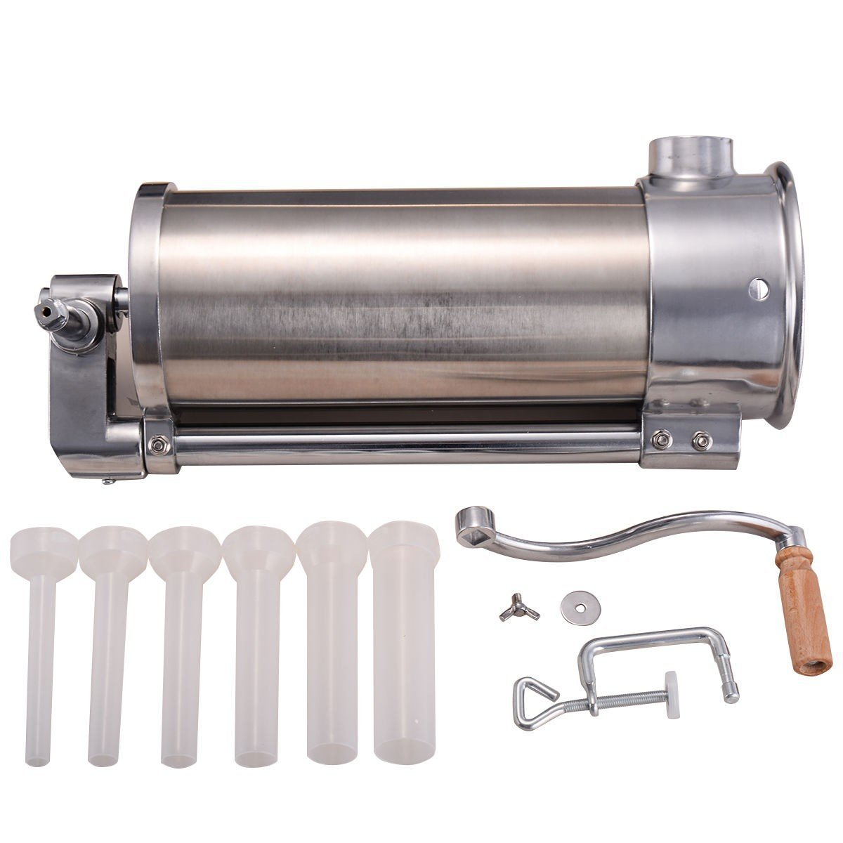 CHOOSEandBUY 6l Sausage Stuffer Maker Stainless Steel 10lb Meat Filler Commercial Restaurant 10 Lbs Easy Use Salami Hand Manual Funnel Operated
