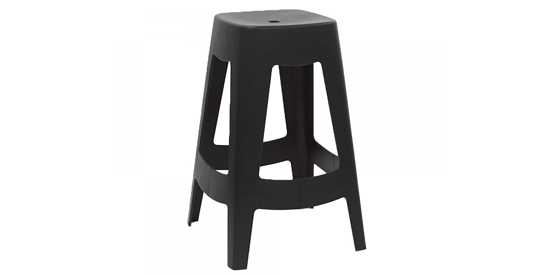 Breakfast Bar / Kitchen Stool | Lightweight Plastic | Stackable | Scandinavian Contemporary Retro Styling (Black) bee.furniture