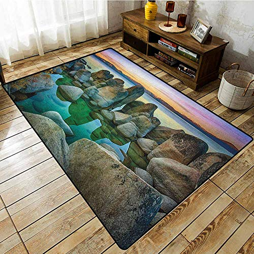 - Bedroom Rug,Lake,Various Sized Condensed Rocks in River at Evening Time When Lamps Down Marine Theme,Extra Large Rug Grey Green
