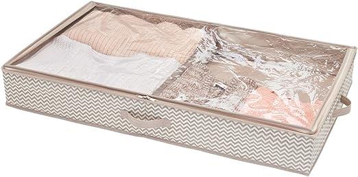 Cajones bajo cama de polipropileno para ahorrar espacio gris pardo mDesign Organizador de ropa y zapatos para debajo de la cama Guarda zapatos con 2 compartimentos y estampado de zigzag