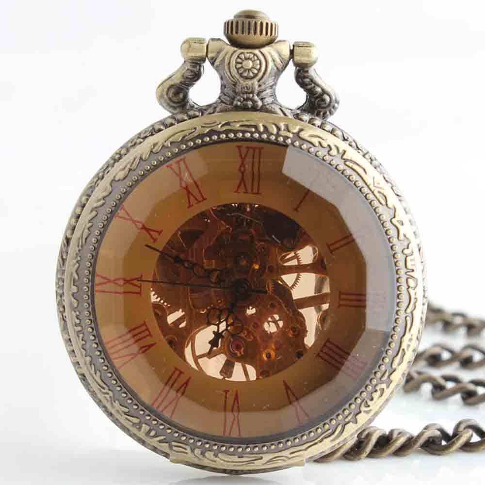 Zxcvlina Classic Smooth Exquisite Retro Mechanical Pocket Watch Boutique Men Women Hollow Pocket Watch with Chain Suitable for Gift Giving
