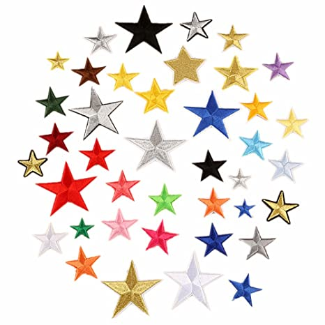 Parches bordados de varios colores, 40 unidades, diseño de estrellas, para coser o. Pasa ...