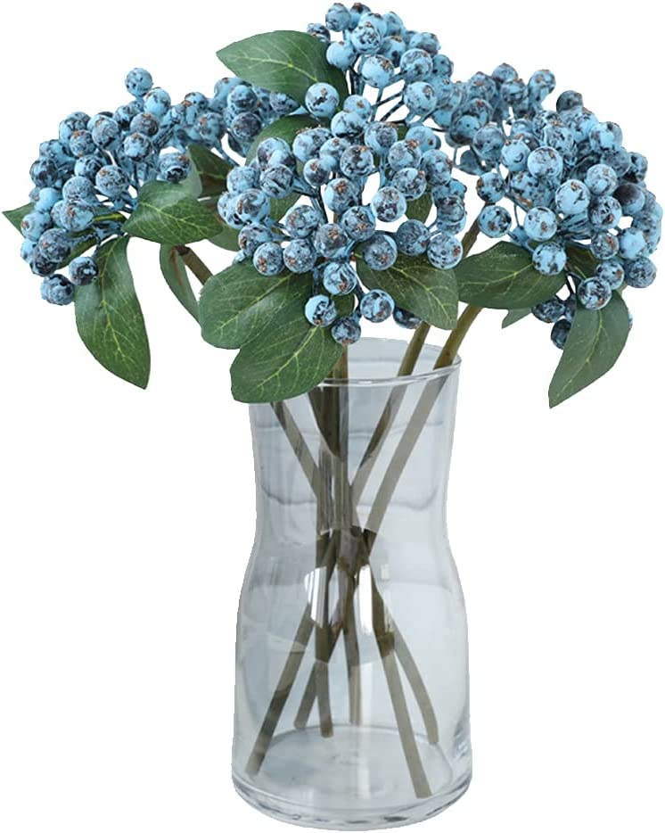 Tinsow Artificial Holly Berry Stem Realistic Bouquet for Wedding Party, Berry Ornaments Fake Berry for Home Office Decor, 6 Pcs Faux Holly Berry Branch (Blue, 6)