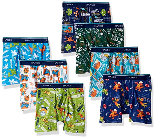Hanes Boys Toddler 7-Pack Days of The Week Boxer Brief, Assorted, 4 (Toddler Boy Briefs 5t)