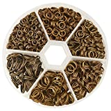 Pandahall 1 Box Mixed Size Antique Bronze Split Iron Double Jump Rings, Nickel Free