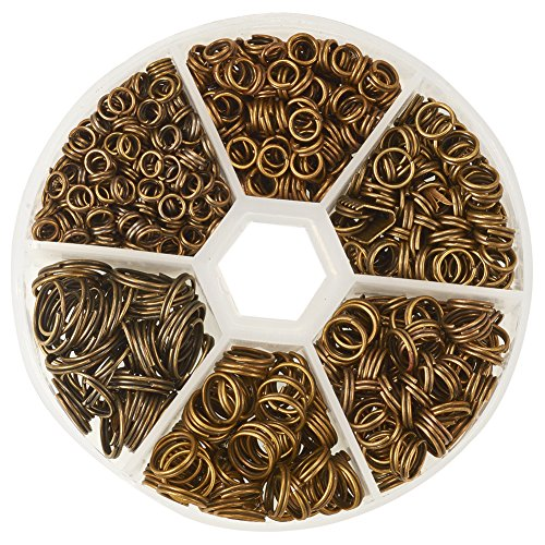 PH PandaHall 1 Box 6 Sizes Antique Bronze Split Iron Double Jump Rings for Jewelry Making, Nickel Free (Diameter: 4mm, 5mm, 6mm, 7mm, 8mm, 10mm)