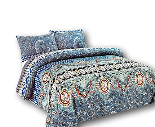 Tache Geometric Floral Teal Paisley Duvet Cover - Paisley Monarch - Luxurious Microfiber Duvet Cover With Zipper Closure and Security Ties/Ribbons - 3 Piece Set - Full