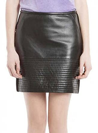 03b6844c4399 Amazon.com: New York Lambskin Genuine Leather Women Black Skirt ...