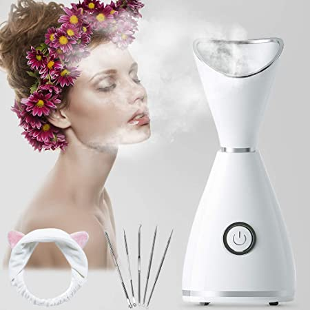 Hot Mist Facial Steamer, RGCTL Nano lonic Warm Mist Humidifier Atomizer Sprayer Moisturizing Face SPA with 5 Piece Stainless Steel Skin Kit and Head Band
