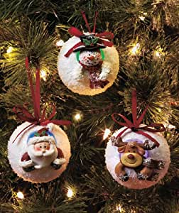 Set Of 3 Color-Changing, LED Lighted Snowball Ornaments