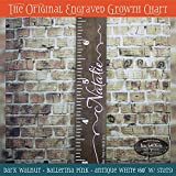 Engraved wooden ruler growth height chart (The Natalie) - premium engraved lettering with name and ribbons