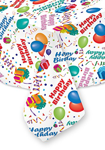 Celebration Tablecloths 70 X 108 Inch Happy Birthday Tablecloth White Restaurant Quality Fabric Machine Wash and Dry No Wrinkles No Iron No Stains Made in USA Birthday Party Supplies