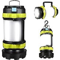 LED Camping Lantern, Rechargeable Portable Lantern Flashlight, 6 Modes, 3600mAh Power Bank, Two Way Hook of Hanging…