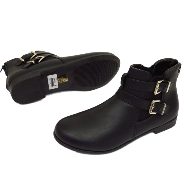 HeelzSoHigh Sin Tacón Color Negro Para Dama con Cremallera Motero Botines Chelsea Botas de Duende Elegante Zapatos de Trabajo Tallas DE 3-9 - Negro, ...