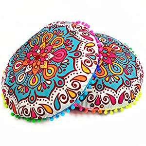 Hot Sale !Indian Large Round Floor Pillow Case ,Beautyvan Comfortable Charming Indian Mandala Floor Pillows Round Bohemian Cushion Cushions Pillows Case (A)
