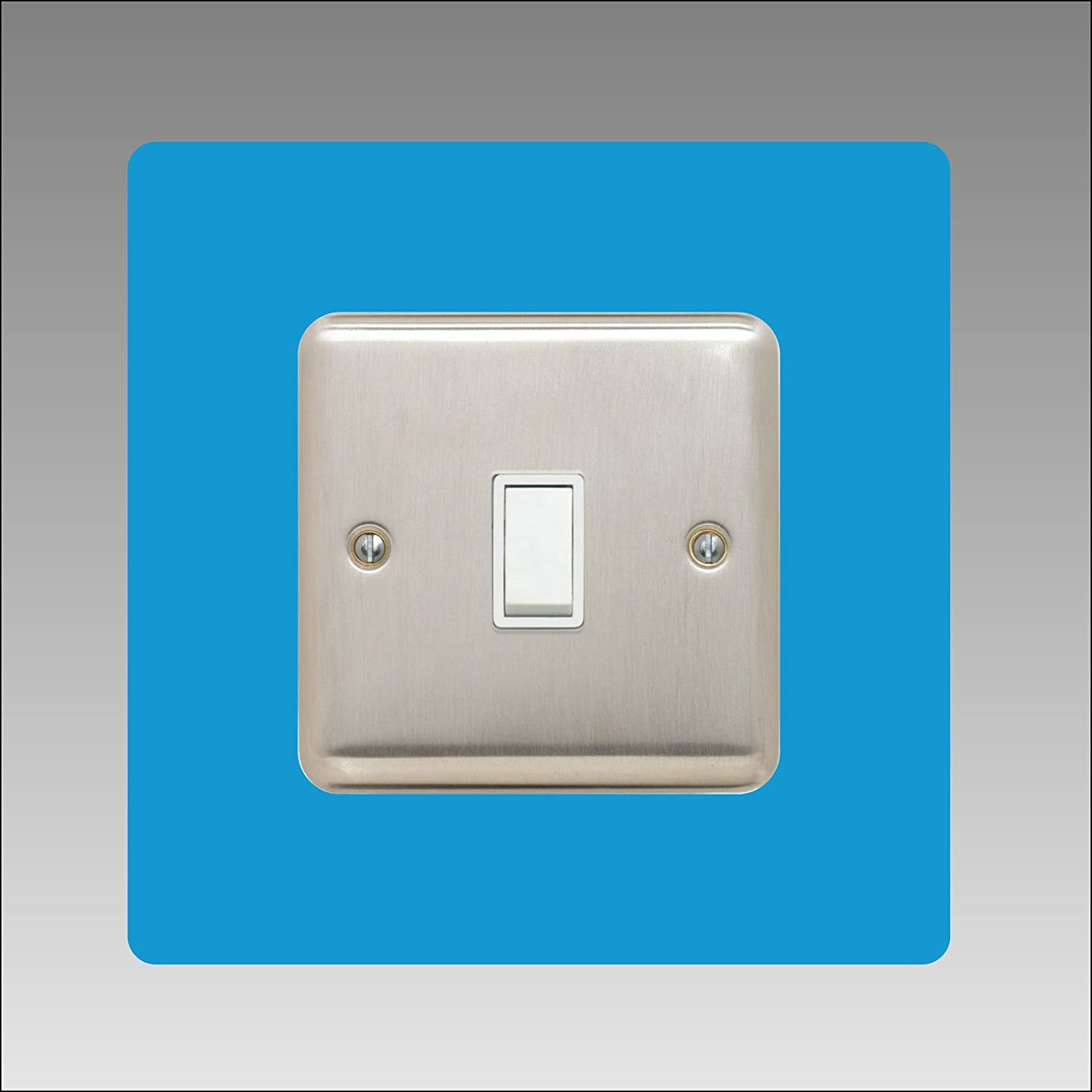 Single Light Switch Surround | Square | Acrylic Back Panel or Finger Plate | 3mm Thick, Font Colour:Pink DSD Supplies ltd.