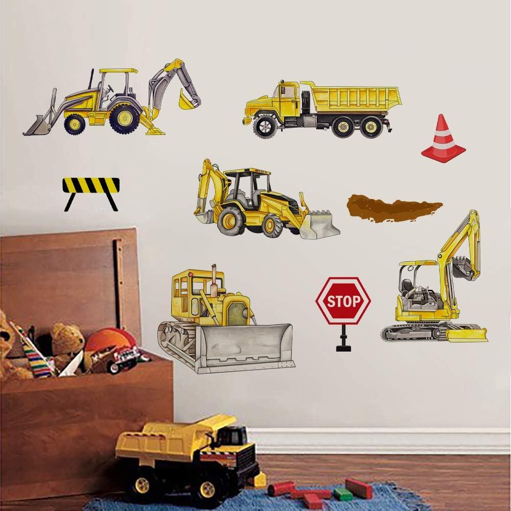 Runtoo Construction Vehicles Wall Decals Trucks Tractor Transportation Wall Stickers Kids Boys Bedroom Nursery Wall Décor
