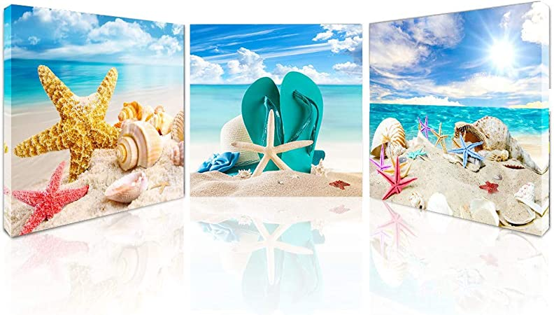 Amazon Com Beach Canvas Wall Art Starfish Seashell Pictures For Bathroom Modern Seascape Stretched And Framed Giclee Canvas Prints Seaview Landscape Artwork For Bedroom Home Office Decorations Everything Else