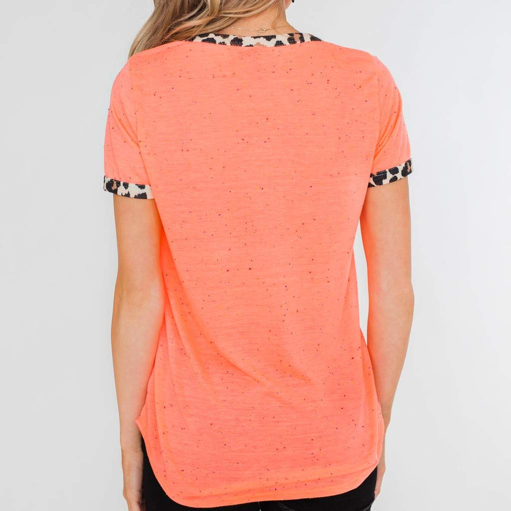 Womens Short Sleeve Tee - On Sale Fashion Pocket Leopard Dot Print Summer Casual Loose Breathable Blouse Top by Dacawin-Women Tops (Image #6)