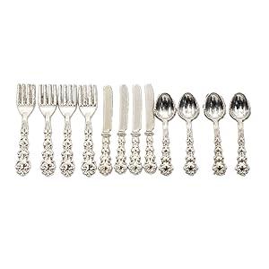 BetterUS 1/12 Scale Mini Fork Spoon Knife Set Metal Tableware Dollhouse Kitchen Furniture Supply 12Pcs