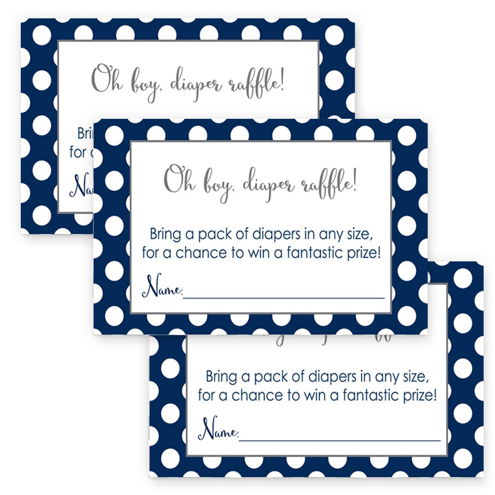 Navy Diaper Raffle Cards Boys Baby Shower Set of 25 Invitation Inserts Paper Clever Party