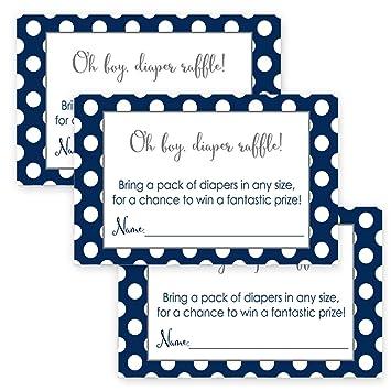 Amazon Com Navy Blue Diaper Raffle Cards For Boys Baby Shower Set