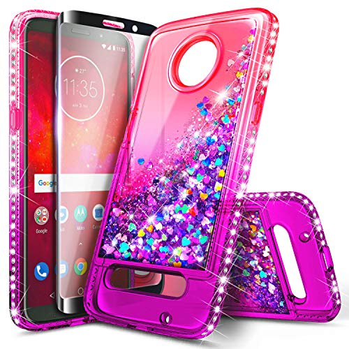 NageBee Glitter Liquid Sparkle Bling Floating Waterfall Shockproof Case with Tempered Glass Screen Protector (Full Coverage) for Motorola Moto Z3 Play/Moto Z3, Pink/Purple