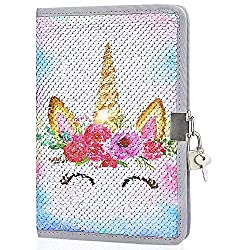 Smiling Unicorn In Sequin Girls Diary with Lock