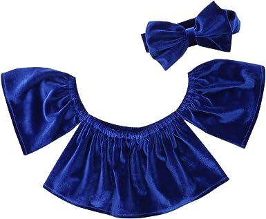 Hotwon 2pcs Toddler Kids Baby Girl Off Shoulder Velvet Crop Blouse Tops Fashion Summer Shirt Headband Outfits Set
