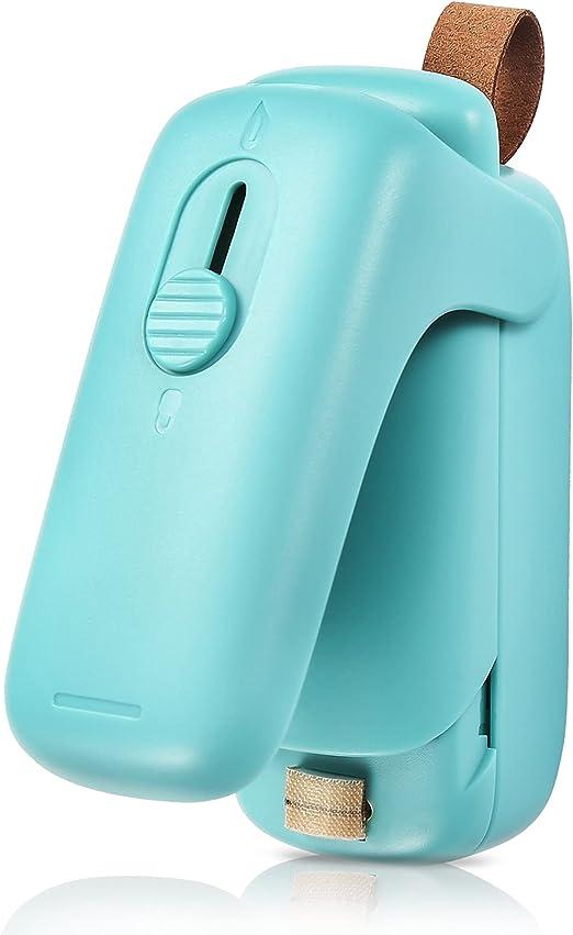 Mini Bag Sealer, 2 in 1 Portable Sealer & Cutter, Heat Sealer for Vacuum Sealer Bags, Handheld Bag Heat Resealer Machine for Chip Bags, Plastic Food Bags, Snack & Cereal Bags (Green, Single)