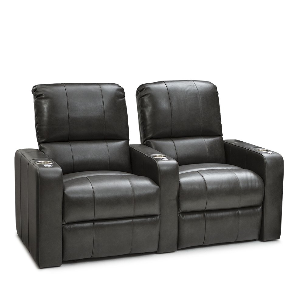 SEATCRAFT Millenia Home Theater Seating Power Recline Leather (Row of 2, Grey)