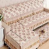 XH@G Pastoral sofa towel All-Season Furniture Protector Sofa Protector Sofa slip-resistant sofa cover elastic sofa towel , coffee color , 9090cm