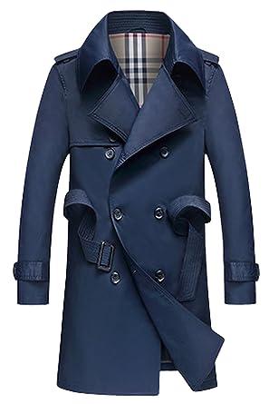 21b153970 Lende Men's Slim Double Breasted Trench Coat Long Jacket Overcoat ...