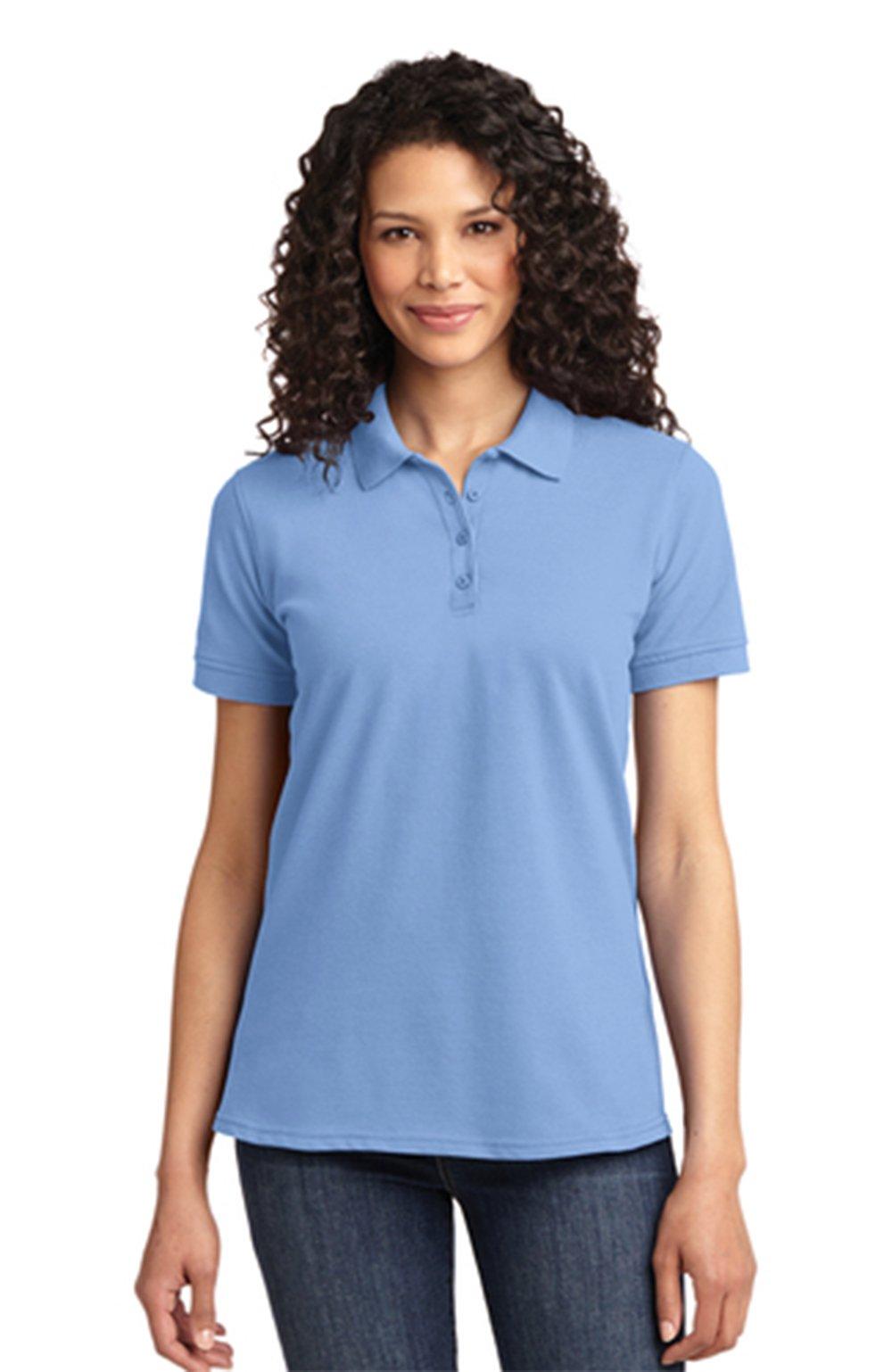Port & Company Women's Core Blend Pique Stain Resistant Polo, Medium, Light Blue