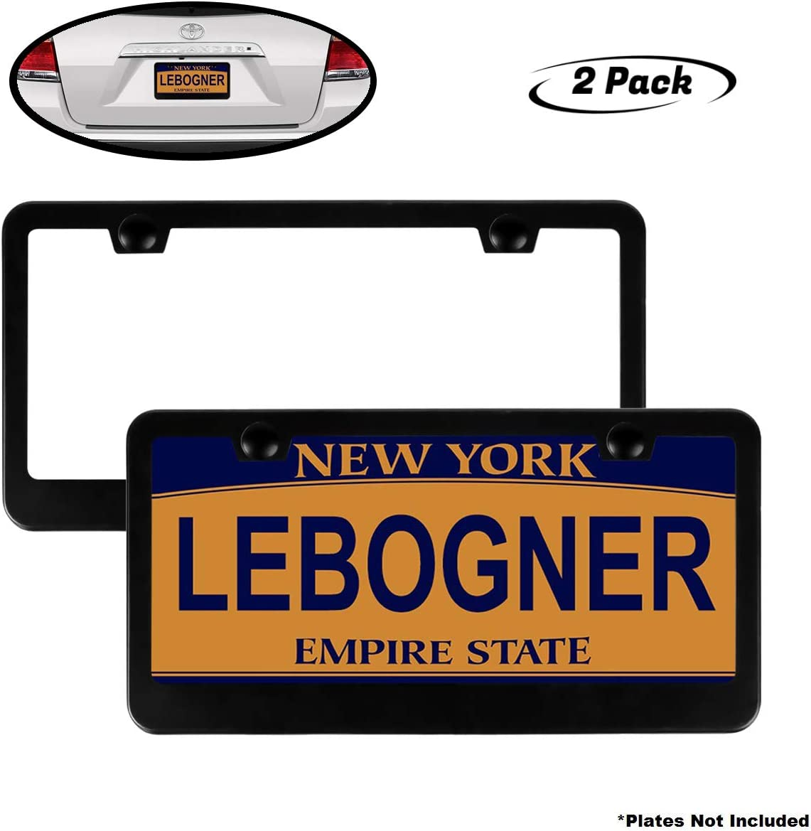 lebogner Car License Plate Frames, 2 Pack Matte Aluminum Auto Plate Frames, Will Fit Standard US Plates, 2 Hole Stainless Steel Black Unbreakable Frames to Protect Plates, Mounting Hardware Included