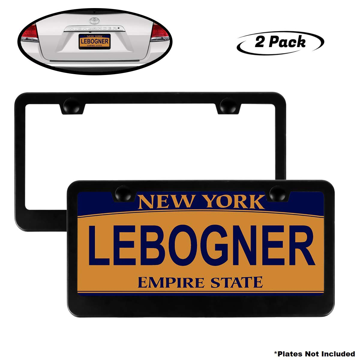 Will Fit Standard US Plates lebogner Car License Plate Frames 2 Hole Stainless Steel Black Unbreakable Frames to Protect Plates 2 Pack Matte Aluminum Auto Plate Frames Mounting Hardware Included