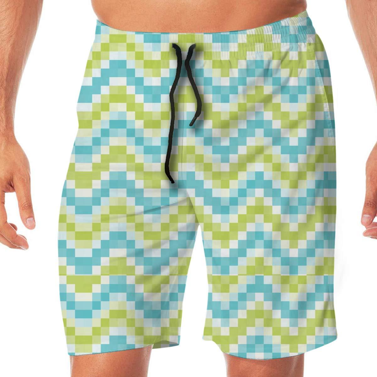 L XL Cbyan Mosaic Tiles Blue Green Background Beach Trunks Men Swimwear Shorts Swim Board Shorts with Mesh Lining M XXL