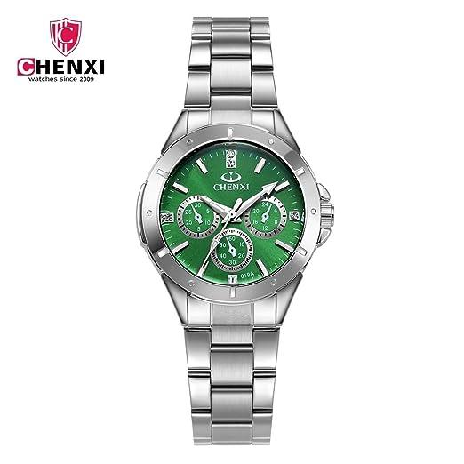 HWCOO Relojes CHENXI Marca Reloj de Acero Reloj de Pulsera de señoras Reloj de Cuarzo Estudiante de Moda Reloj de señora 019A Reloj de Pulsera (Color : 2): ...