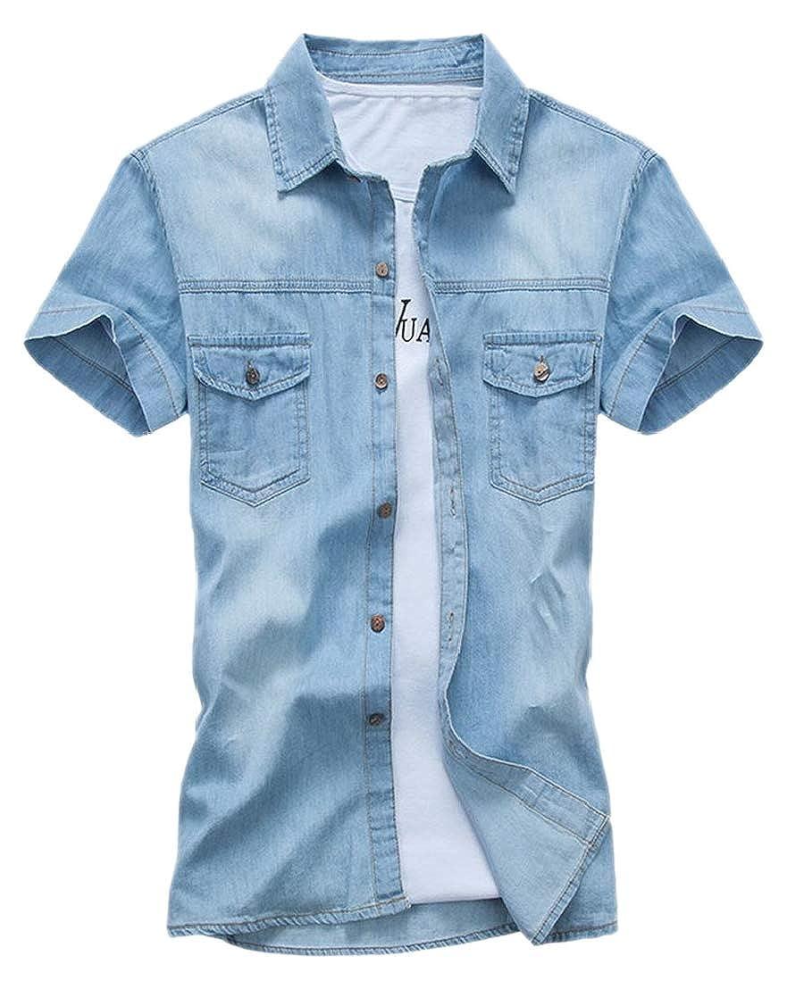 Alion Mens Cotton Slim Fit Shirt Hobbledehoy Short Sleeve Jeans Short One-Piece Vest