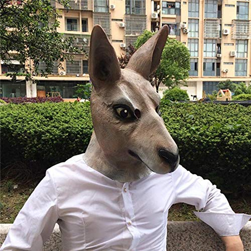 (DeemoShop Halloween Kangaroo Costume Play Masks Funny Latex Mask Scary Animal Masks Masquerade Props Party Mask)